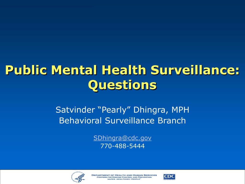 Public Mental Health Surveillance: Questions