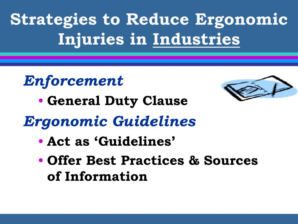 ergonomic interventions for reducing musculoskeletal disorders Disorders by reducing their work-related risk factors (primary preven-  however,  ergonomic intervention is less effective when applied at a more severe stage of.