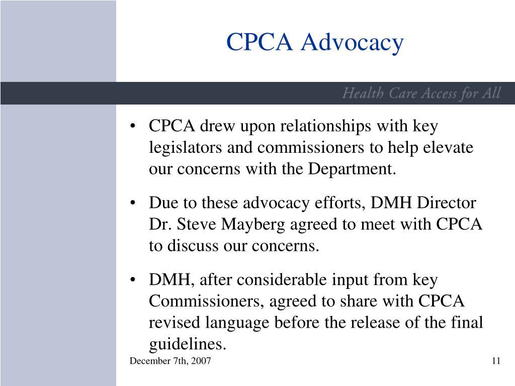 CPCA Advocacy