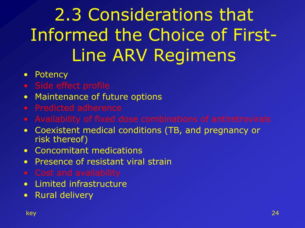 2.3 Considerations that Informed the Choice of First-Line ARV Regimens