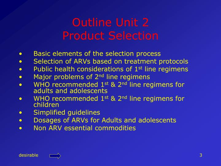 Outline unit 2 product selection