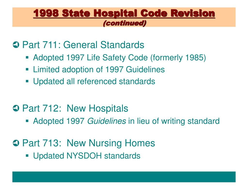 1998 State Hospital Code Revision