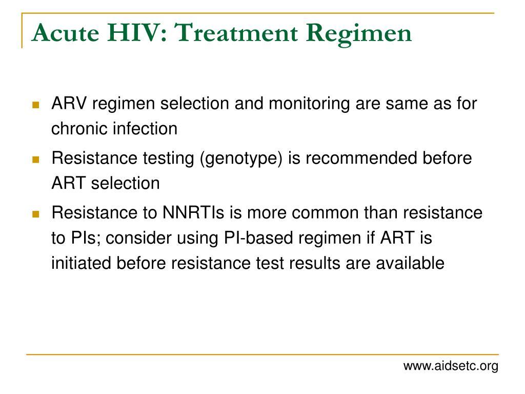 Acute HIV: Treatment Regimen