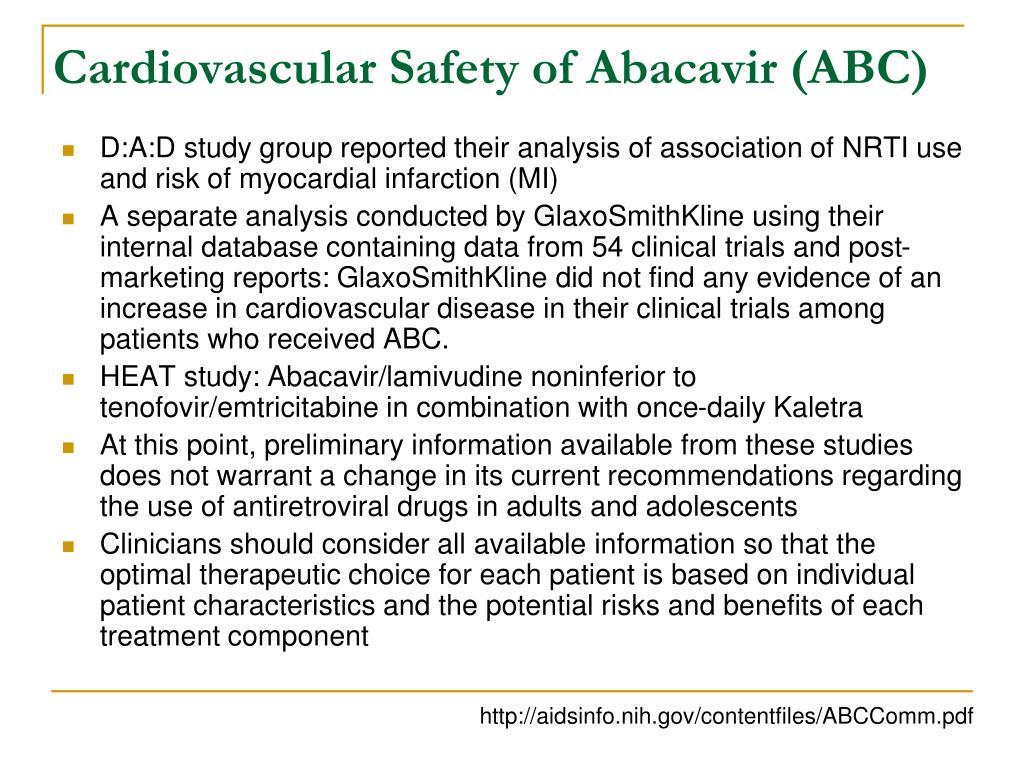 Cardiovascular Safety of Abacavir (ABC)