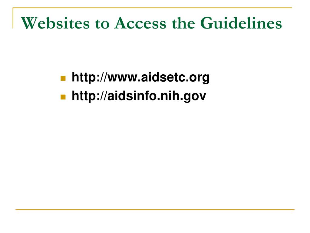 Websites to Access the Guidelines