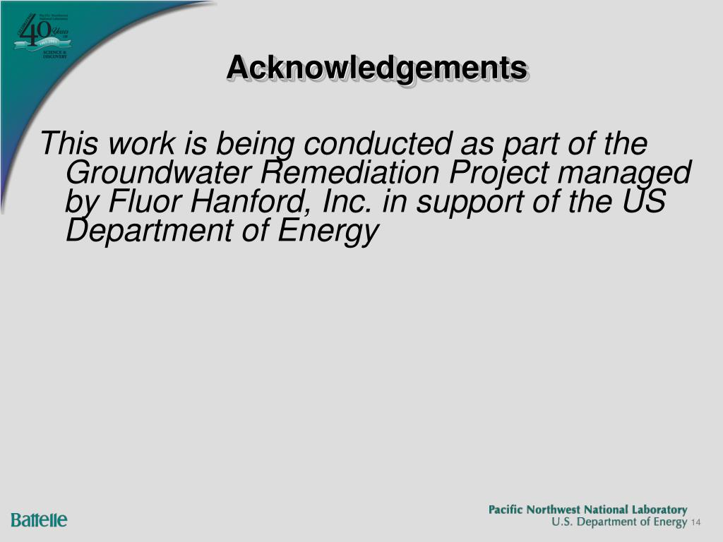 This work is being conducted as part of the Groundwater Remediation Project managed by Fluor Hanford, Inc. in support of the US Department of Energy
