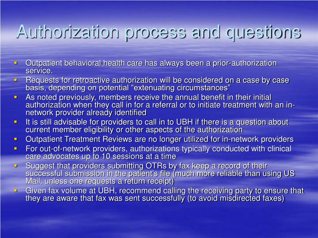Authorization process and questions