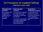 aii precautions for inpatient settings intensive care units