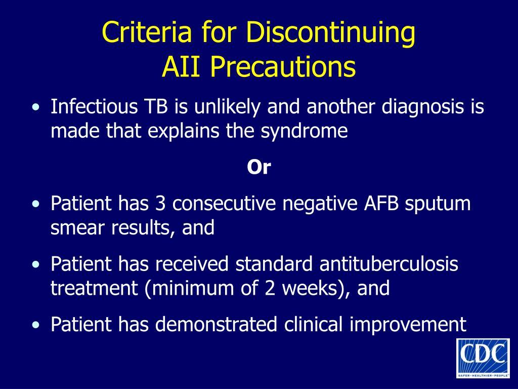Criteria for Discontinuing