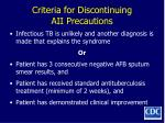 criteria for discontinuing aii precautions
