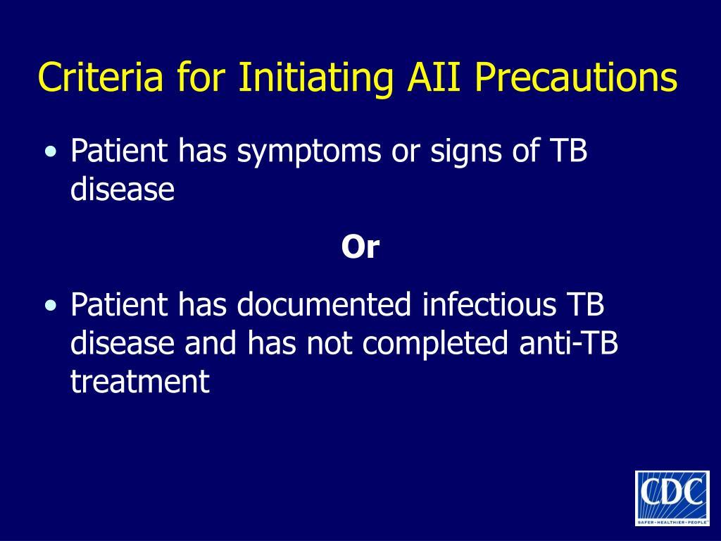 Criteria for Initiating AII Precautions