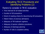 evaluating tb ic procedures and identifying problems 2