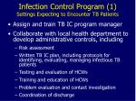 infection control program 1 settings expecting to encounter tb patients