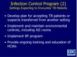 infection control program 2 settings expecting to encounter tb patients