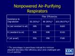 nonpowered air purifying respirators