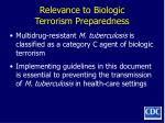 relevance to biologic terrorism preparedness
