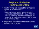 respiratory protection performance criteria