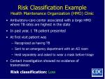 risk classification example health maintenance organization hmo clinic