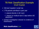 tb risk classification example small hospital