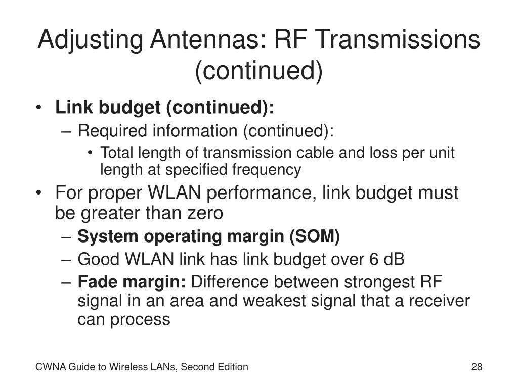 Adjusting Antennas: RF Transmissions (continued)