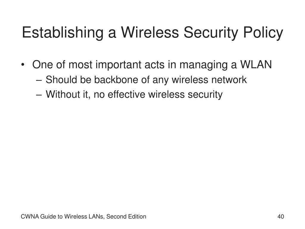 Establishing a Wireless Security Policy