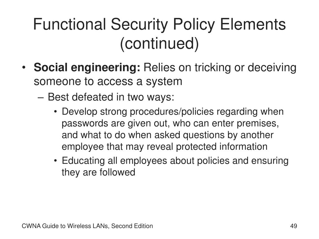 Functional Security Policy Elements (continued)