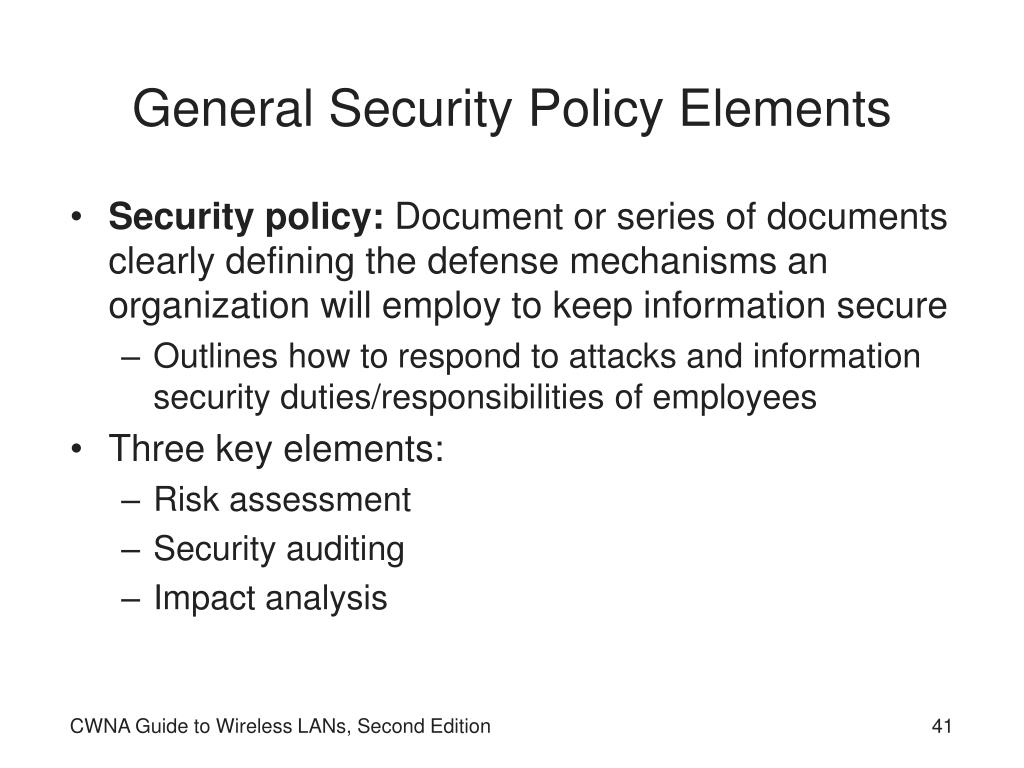 General Security Policy Elements