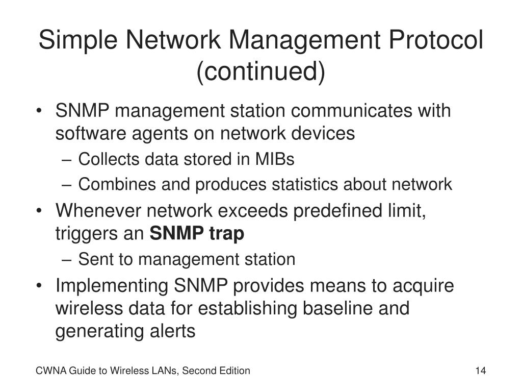 Simple Network Management Protocol (continued)