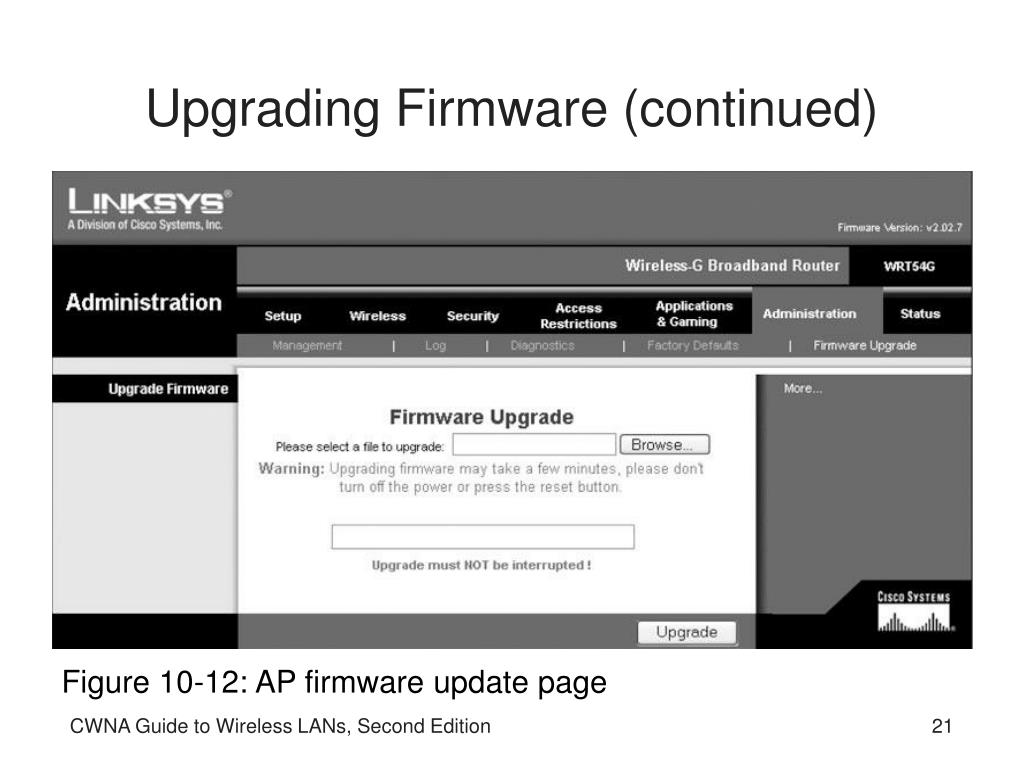 Upgrading Firmware (continued)
