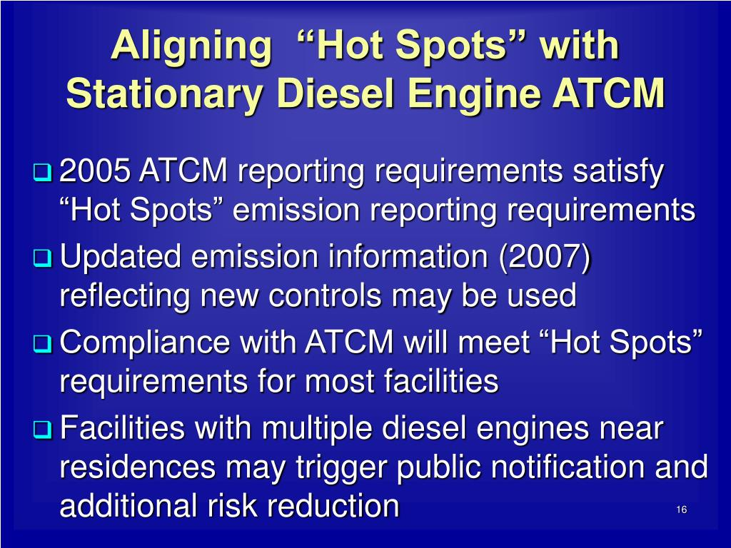 "Aligning  ""Hot Spots"" with Stationary Diesel Engine ATCM"