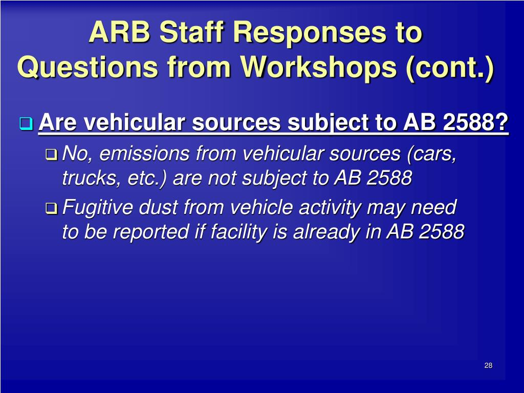 ARB Staff Responses to