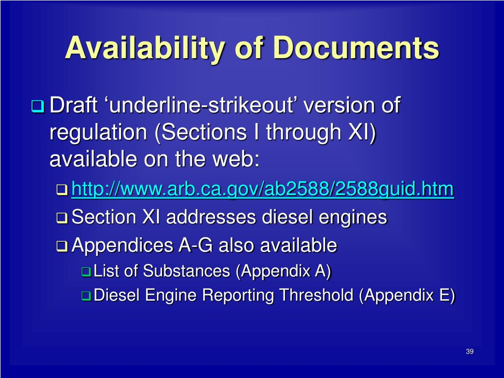Availability of Documents