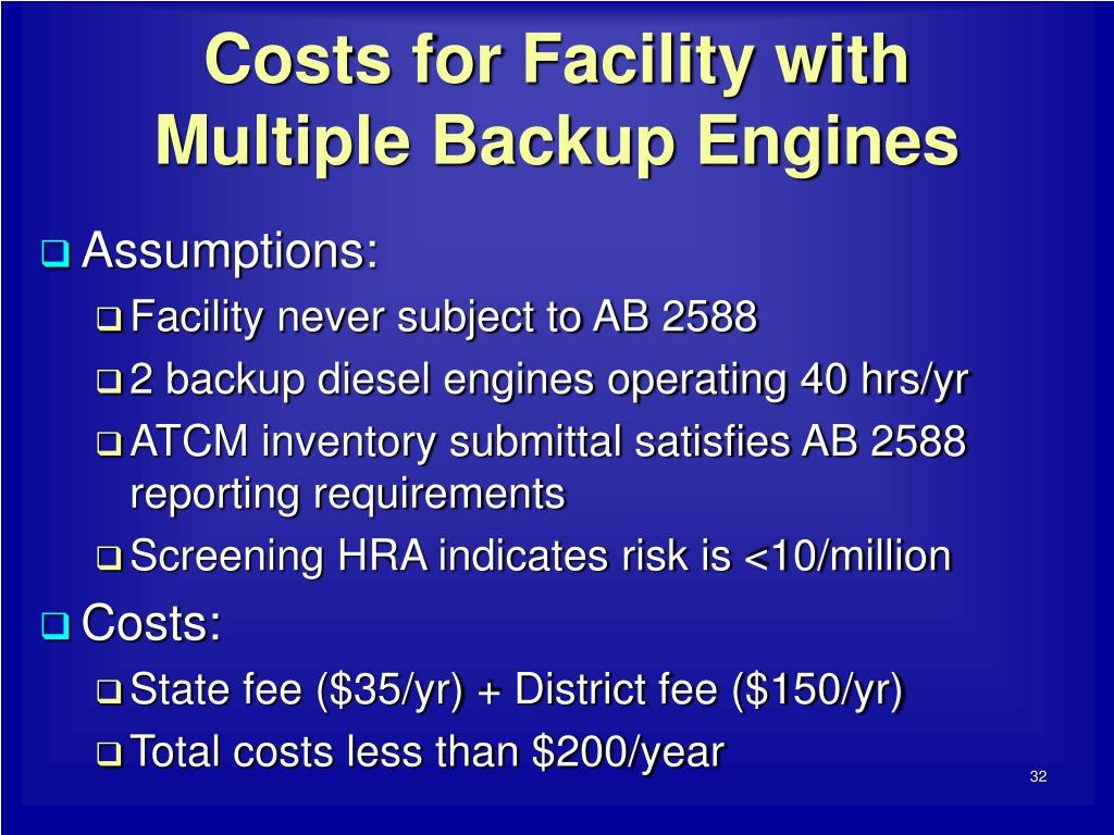 Costs for Facility with Multiple Backup Engines