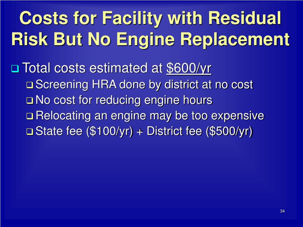 Costs for Facility with Residual Risk But No Engine Replacement