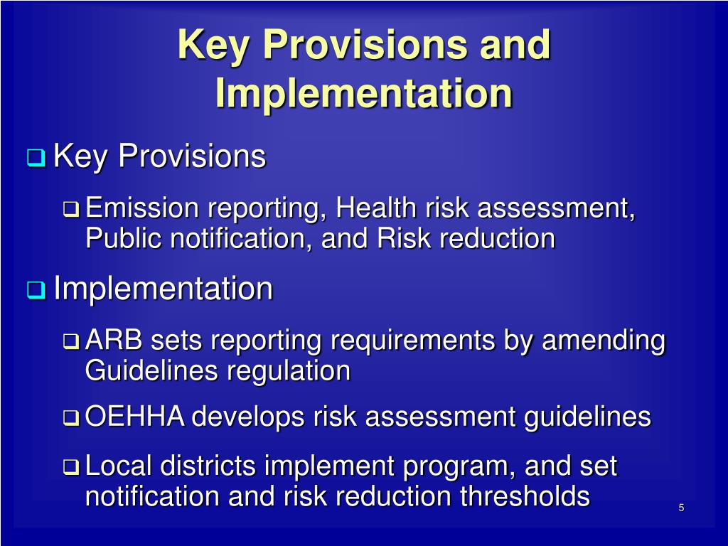 Key Provisions and Implementation