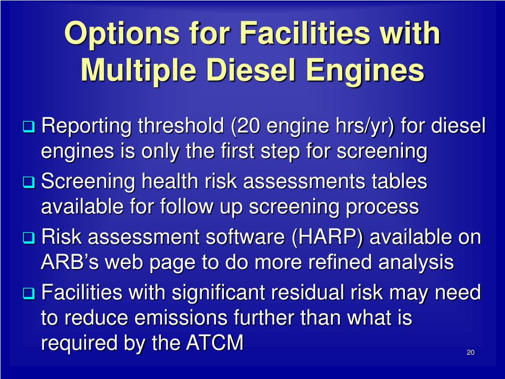 Options for Facilities with Multiple Diesel Engines