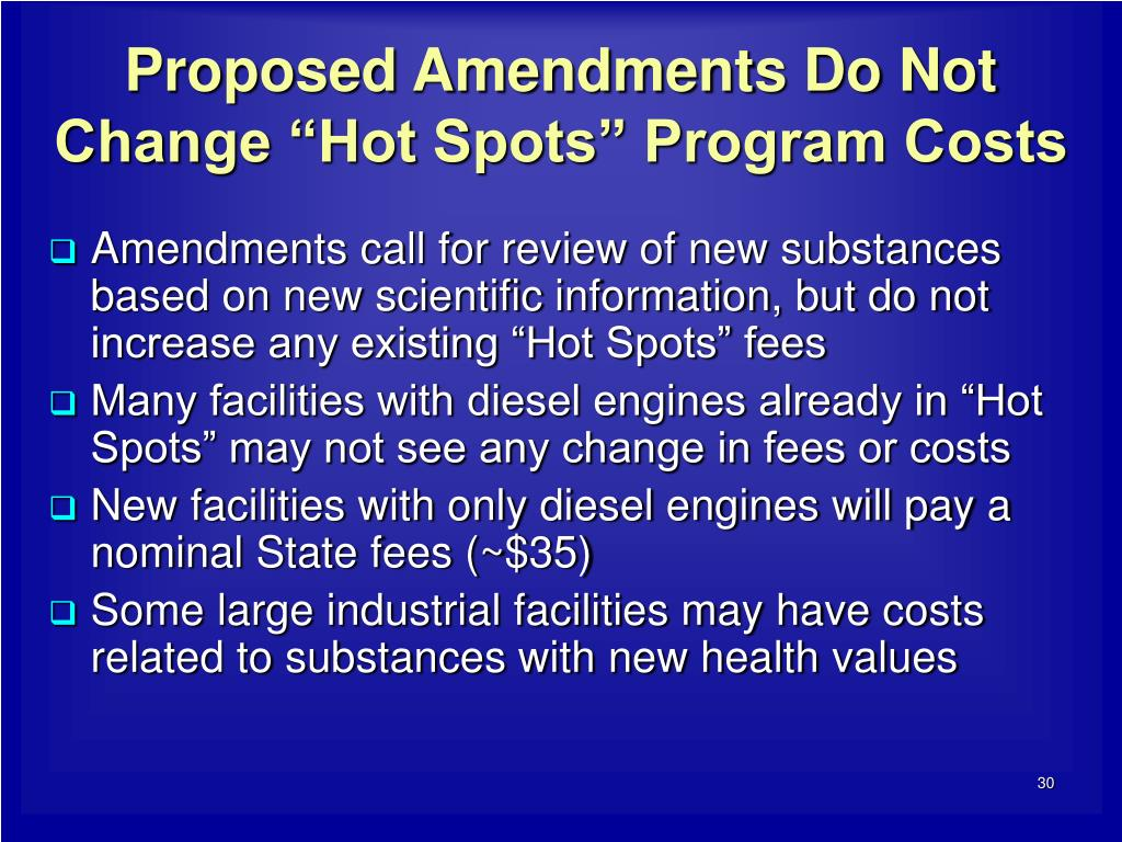 "Proposed Amendments Do Not Change ""Hot Spots"" Program Costs"