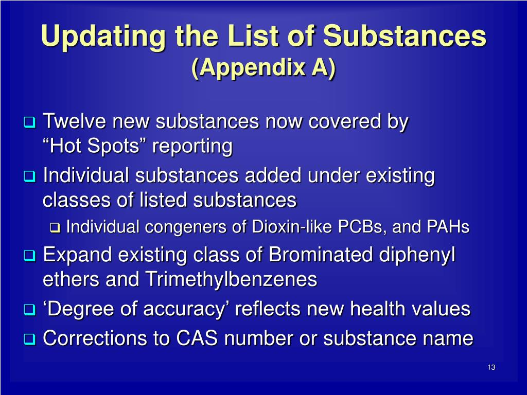 Updating the List of Substances
