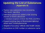 updating the list of substances appendix a