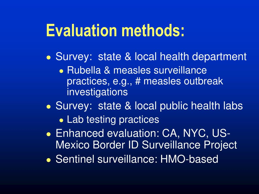 Evaluation methods: