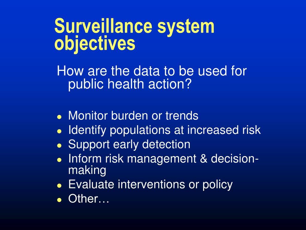 Surveillance system objectives