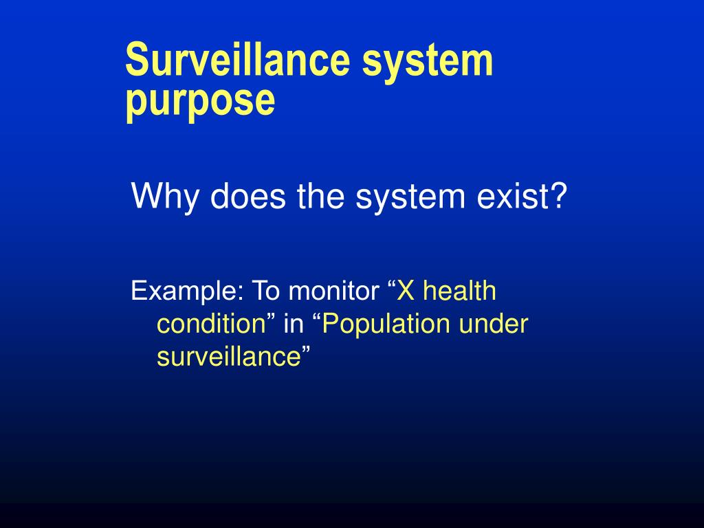 Surveillance system purpose