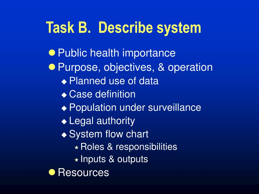 Task B.  Describe system