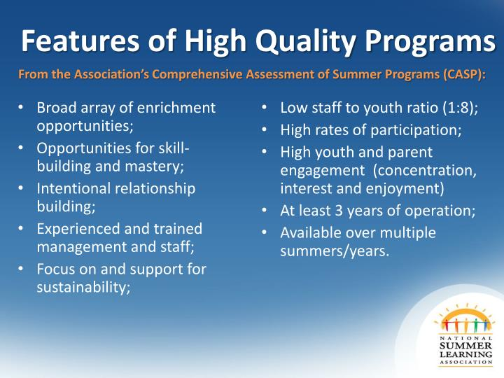 Features of High Quality Programs