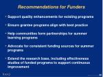 recommendations for funders