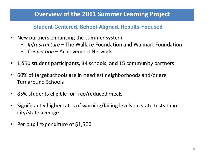 Overview of the 2011 Summer Learning Project