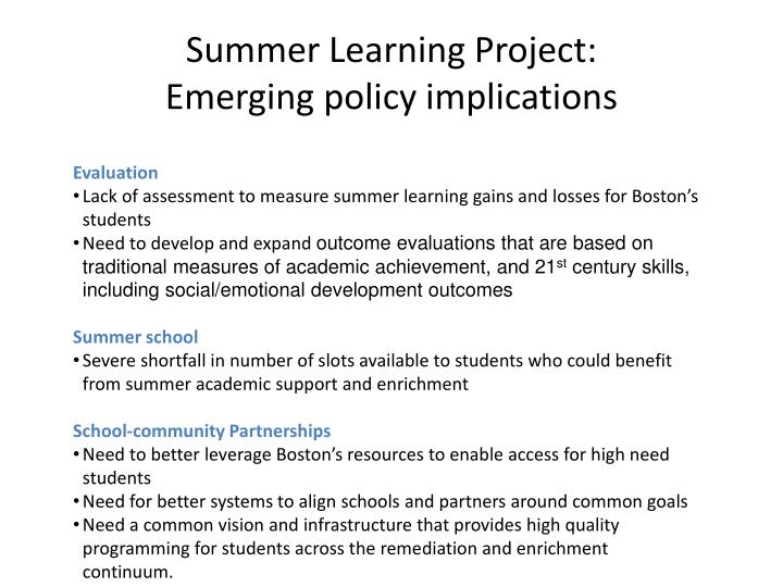 Summer Learning Project: