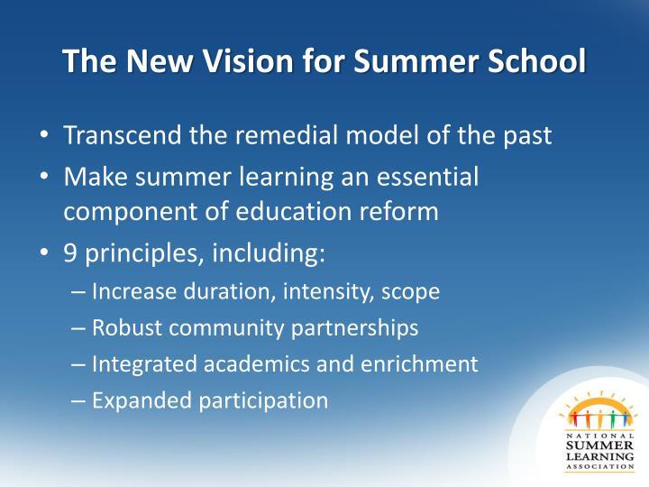 The New Vision for Summer School