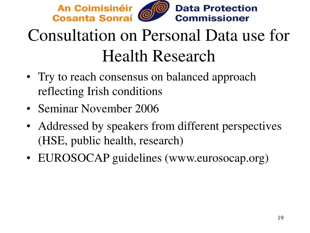 Consultation on Personal Data use for Health Research