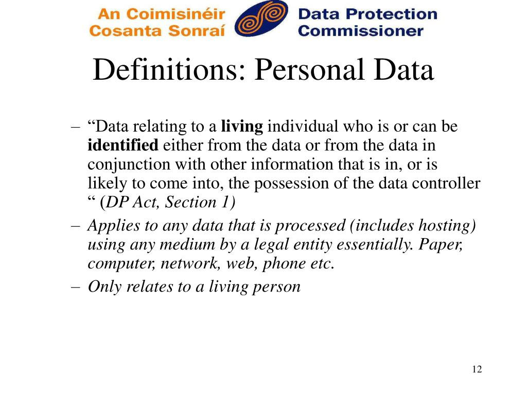 Definitions: Personal Data